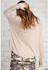 Long Sleeve Mineral Washed Cotton Top