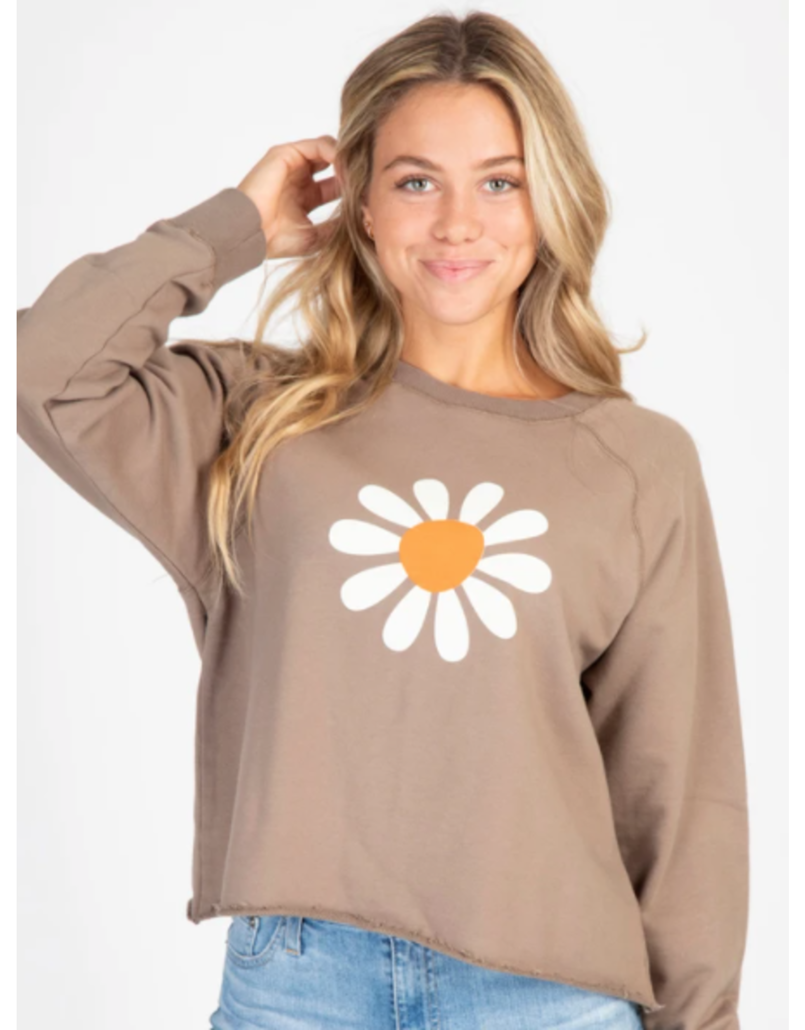 Natural LIfe Flower Cropped Sweatshirt