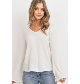 Paper Crane Textured Bell Sleeve Long Sleeve Top