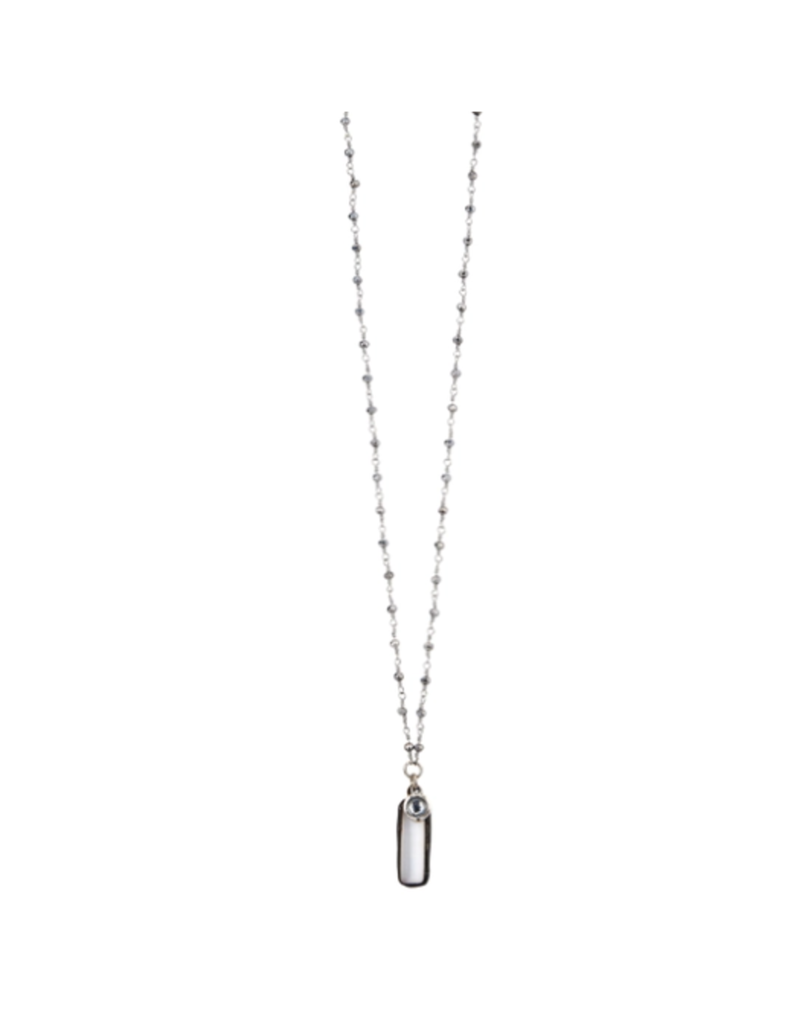 """30"""" Tiny Silver Crystal Necklace with Cz and Cat's Eye"""