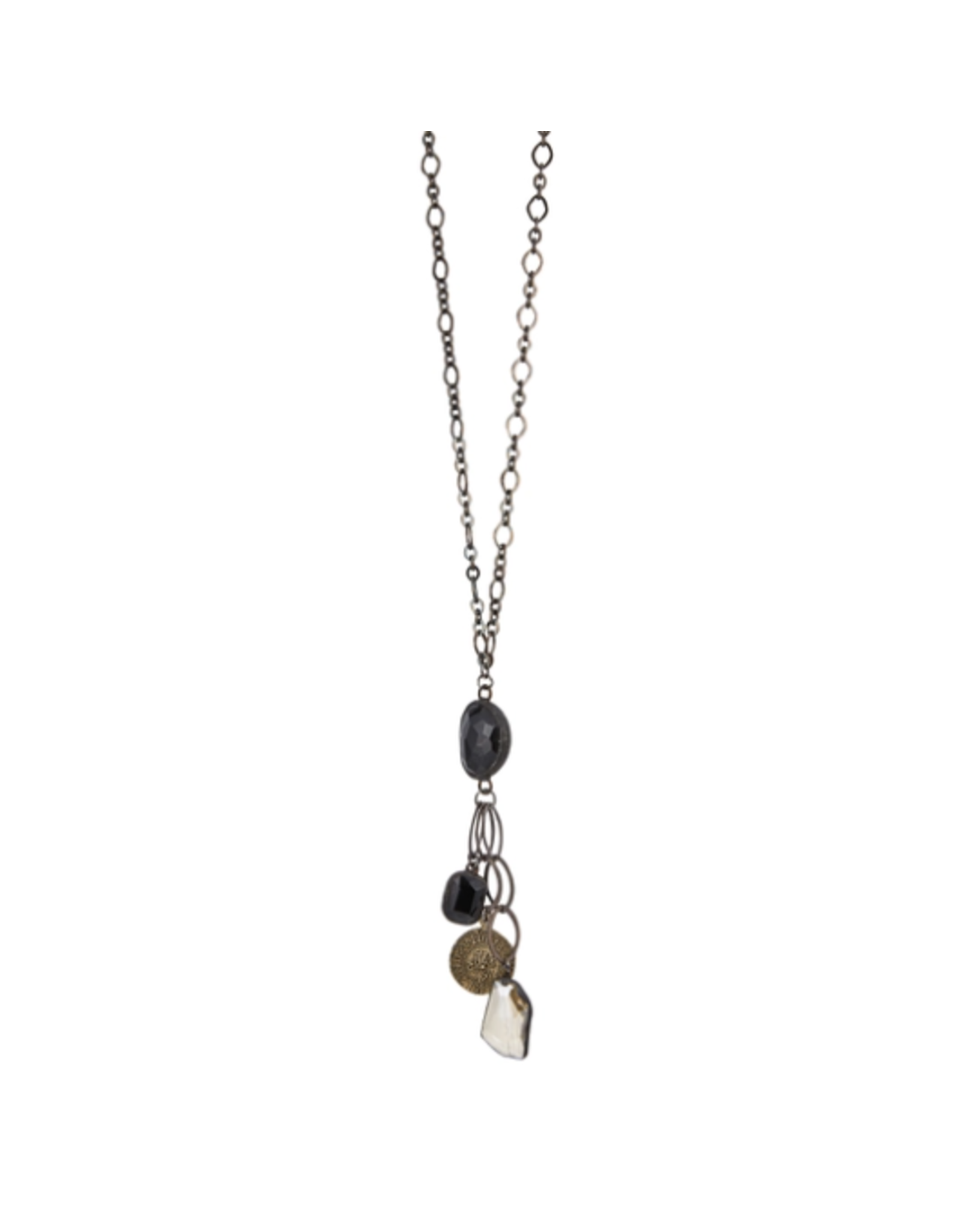 """34"""" Hematite Chain Necklace with Soldered Black Crystal"""