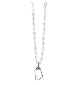 """24"""" Glass Pearl & Silver Pewter Chain Necklace w/Crystal"""