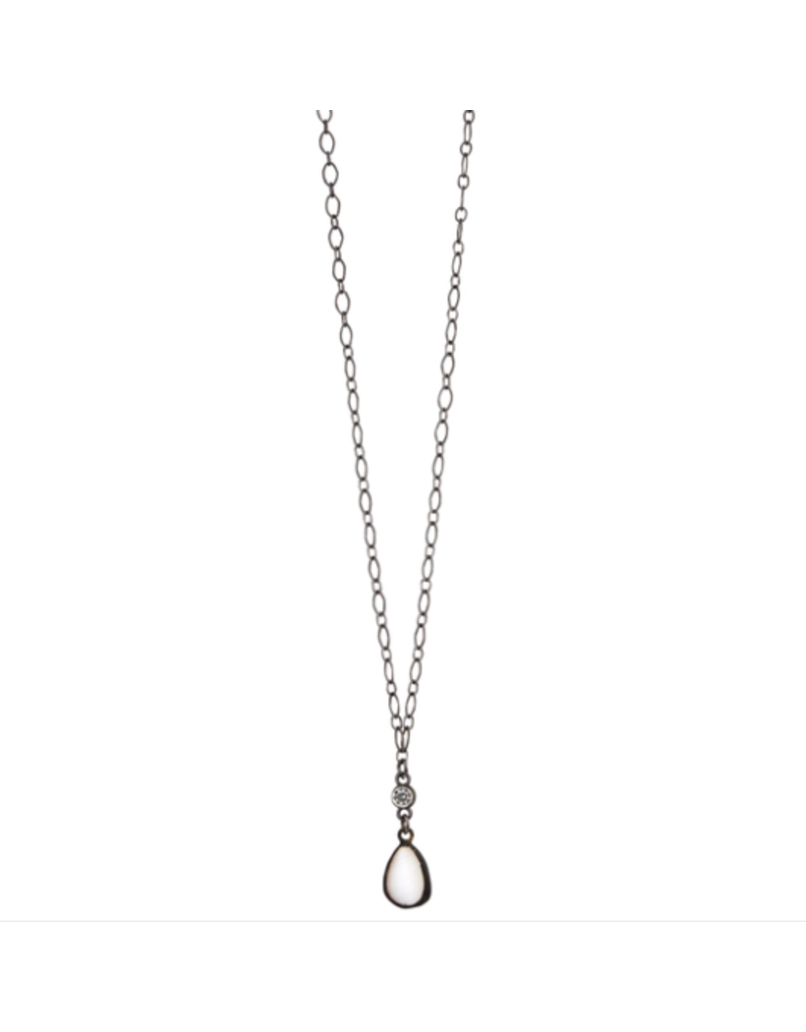 """18"""" Hematite Chain Necklace with Cz Connector"""