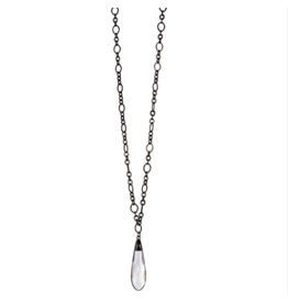 """32"""" Hematite Chain Necklace with Soldered Crystal"""