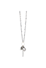 """34"""" Silver Crystal and Silver Plated Chain Necklace"""