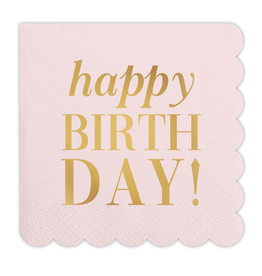 Cocktail Napkins, Happy Birthday, 20 ct, pink