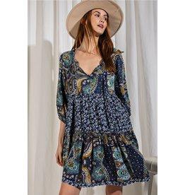 3/4 Sleeve Printed Rayon Dress,