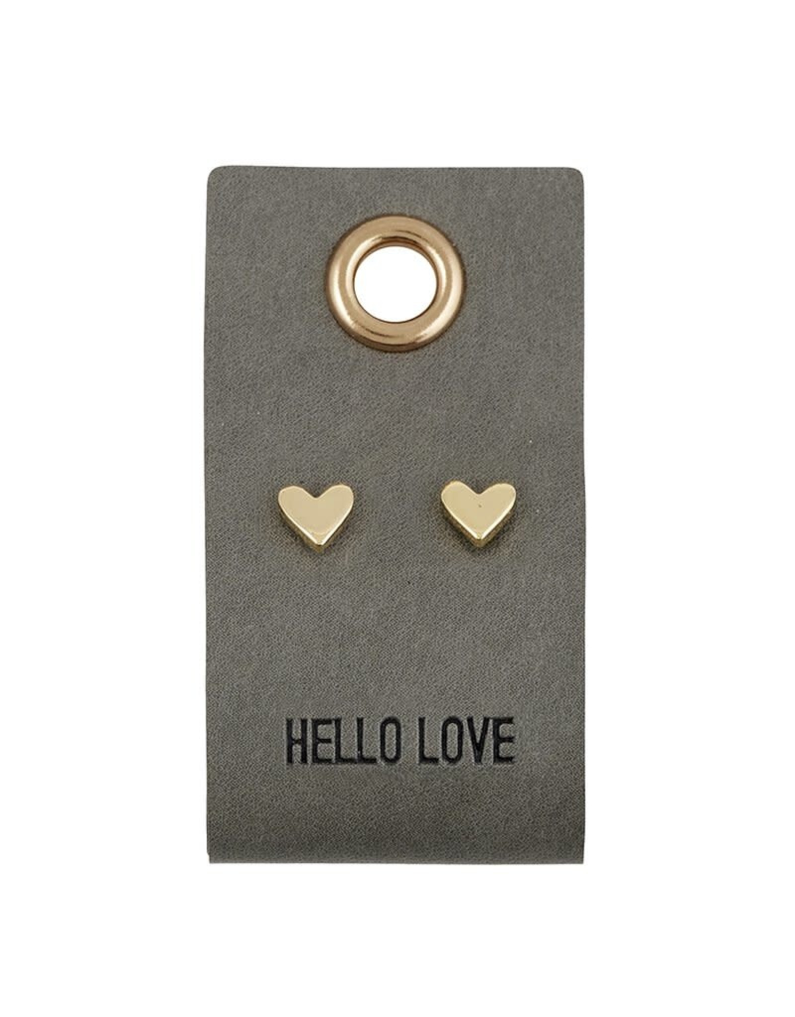 Leather Tag w/Earrings - Heart