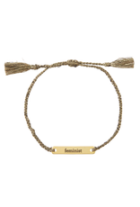 Joy In A Jar Bracelet, feminist, olive and gold