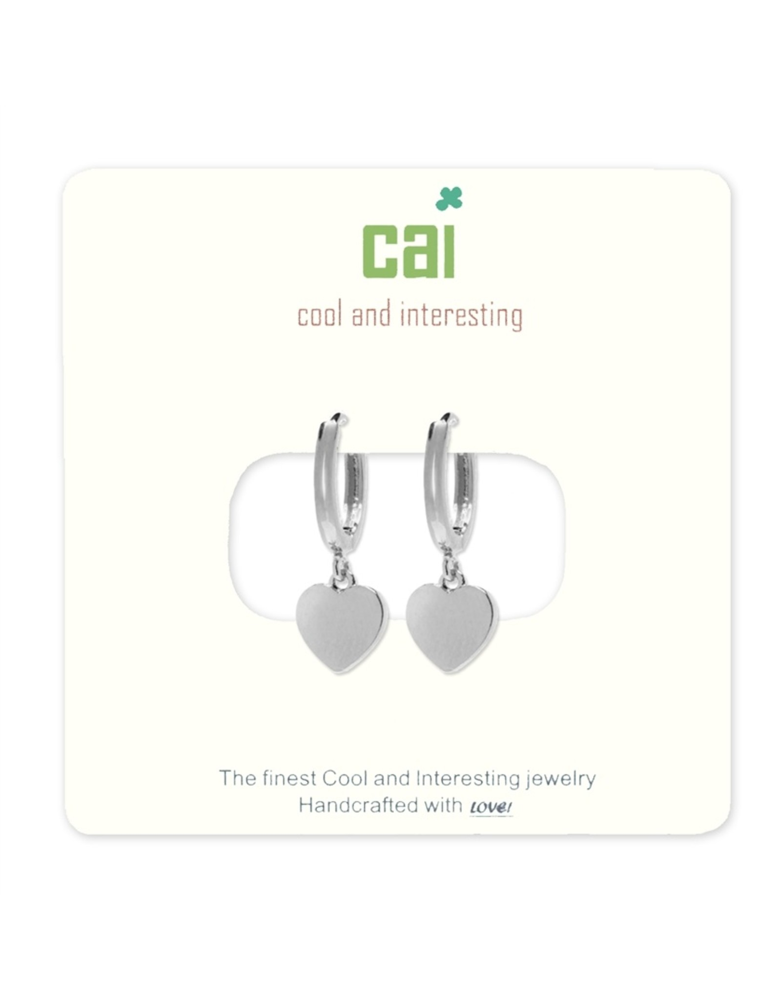 CAI Silver Huggies Earrings, heart