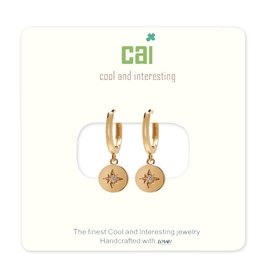 CAI Gold Huggie Earrings, compass