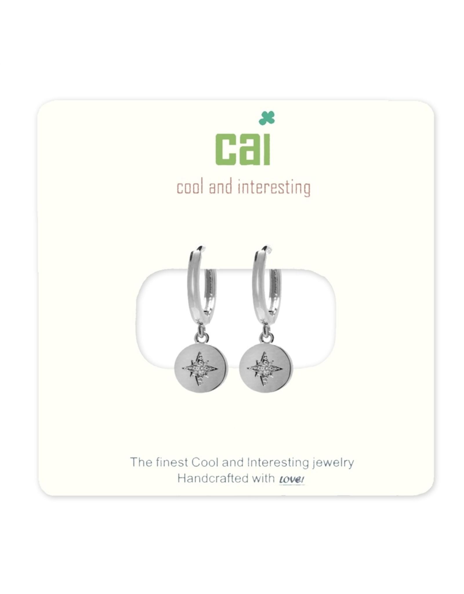CAI Silver Huggies Earrings, compass