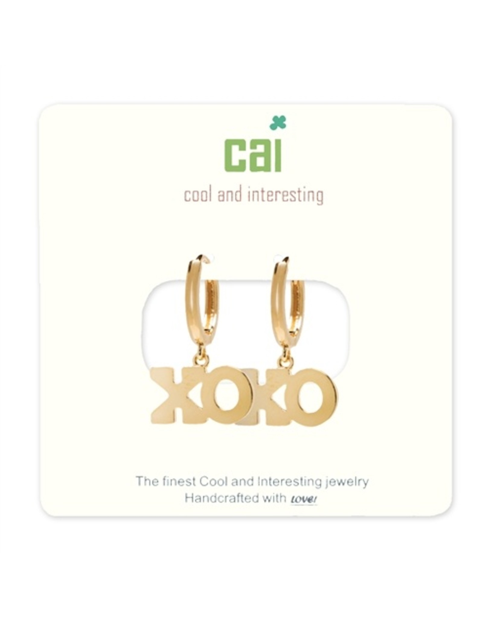 CAI Gold Huggie Earrings, XO