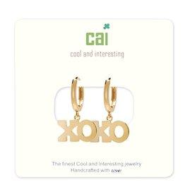 CAI Gold Huggie Earrings, XO