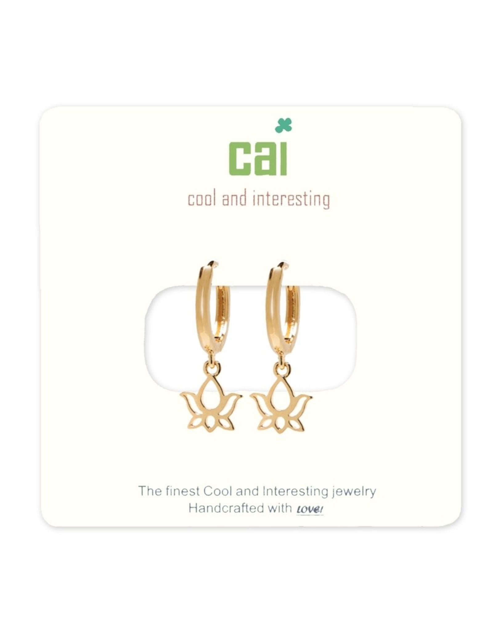 CAI Gold Huggie Earrings, lotus