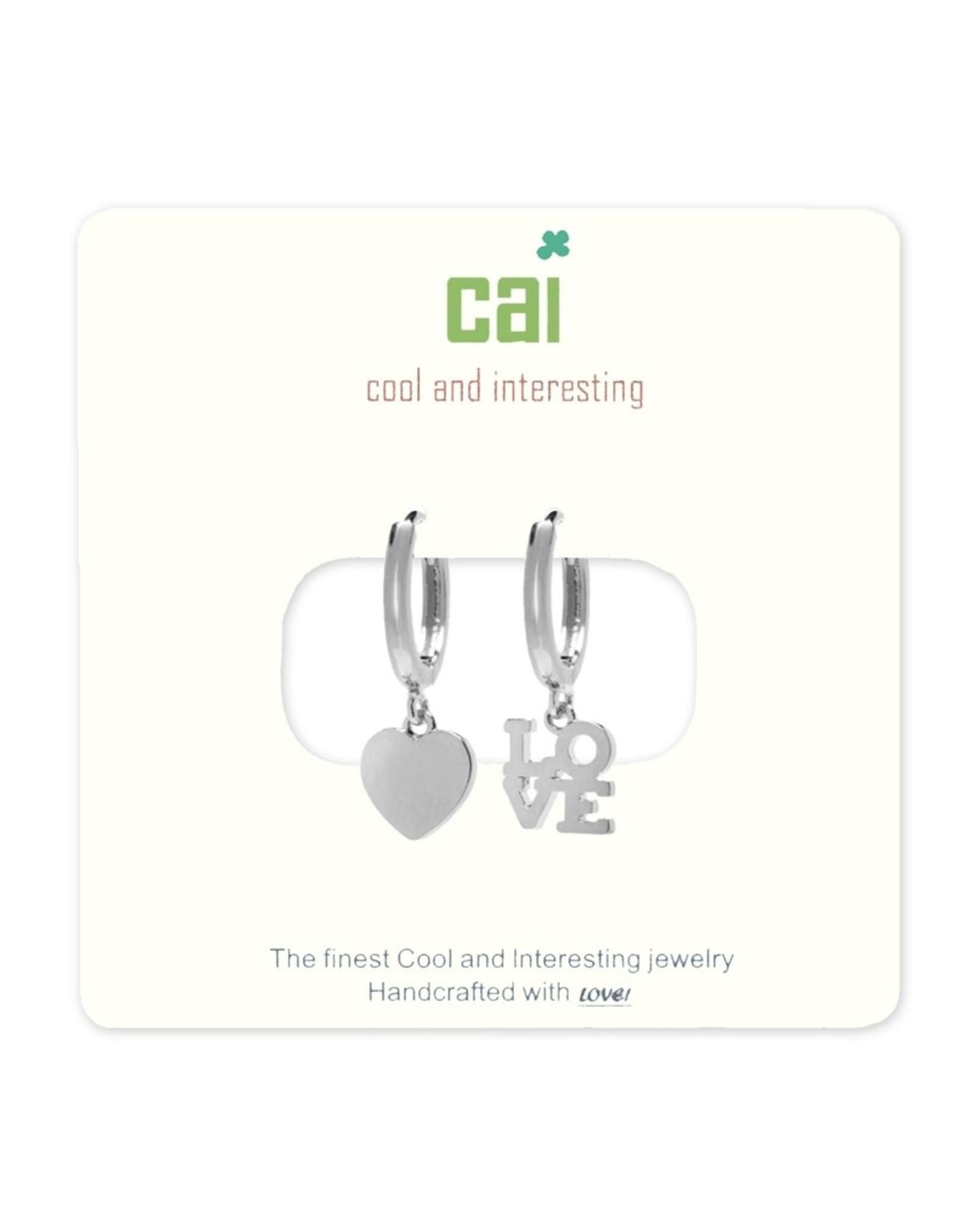 CAI Silver Huggie Earrings, heart-love