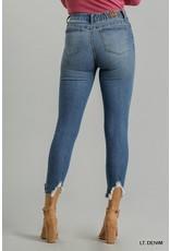 5 Pocket Distress Detail Stretch Skinny Jeans