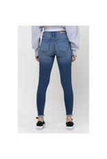 Mid Rise Distress Fray Hem Skinny Jeans