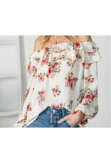 Vine & Love Long Sleeve Ruffled Off-The-Shoulder Blouse