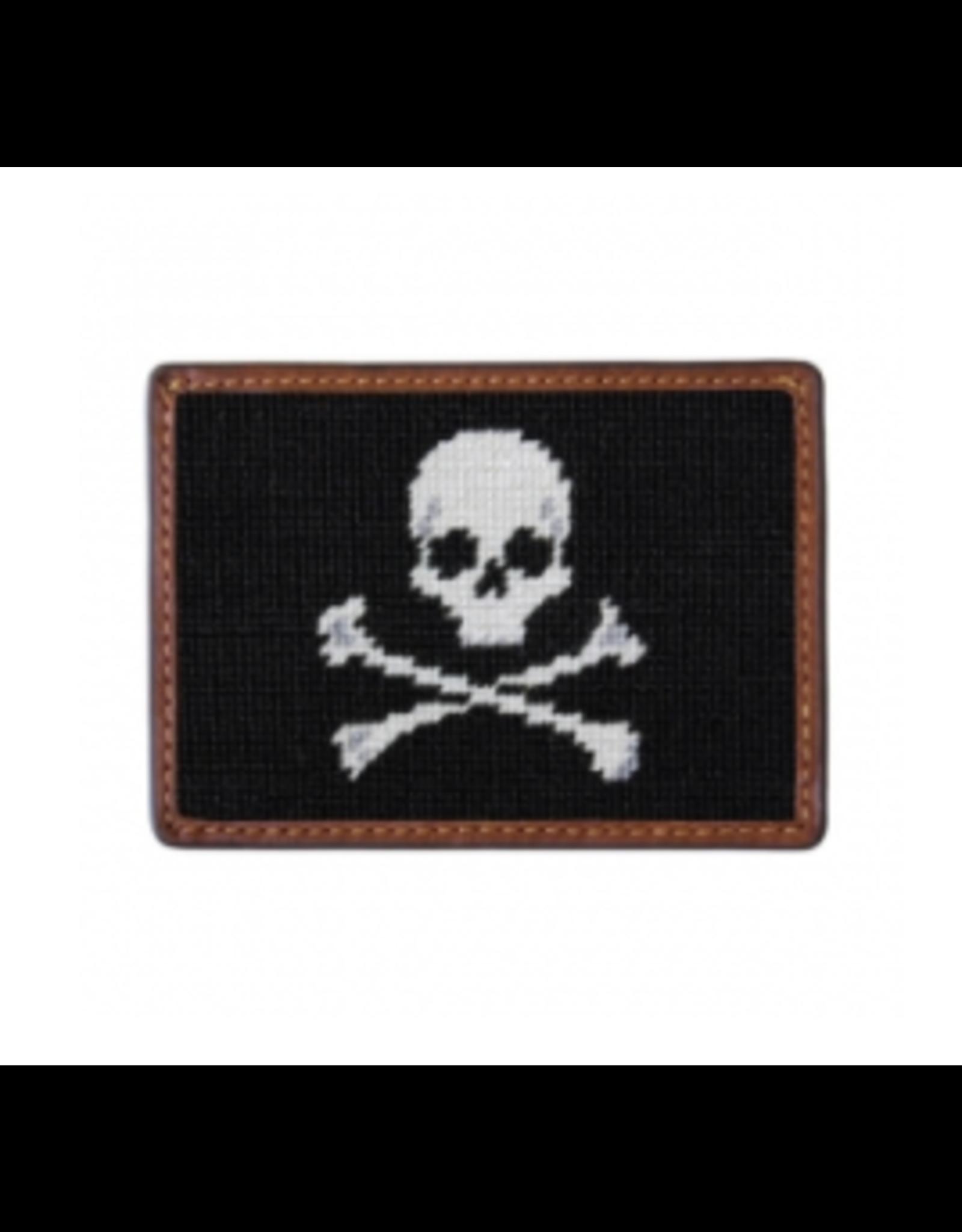 Smathers & Branson S&B Needlepoint Card Wallet, Jolly Roger (black)