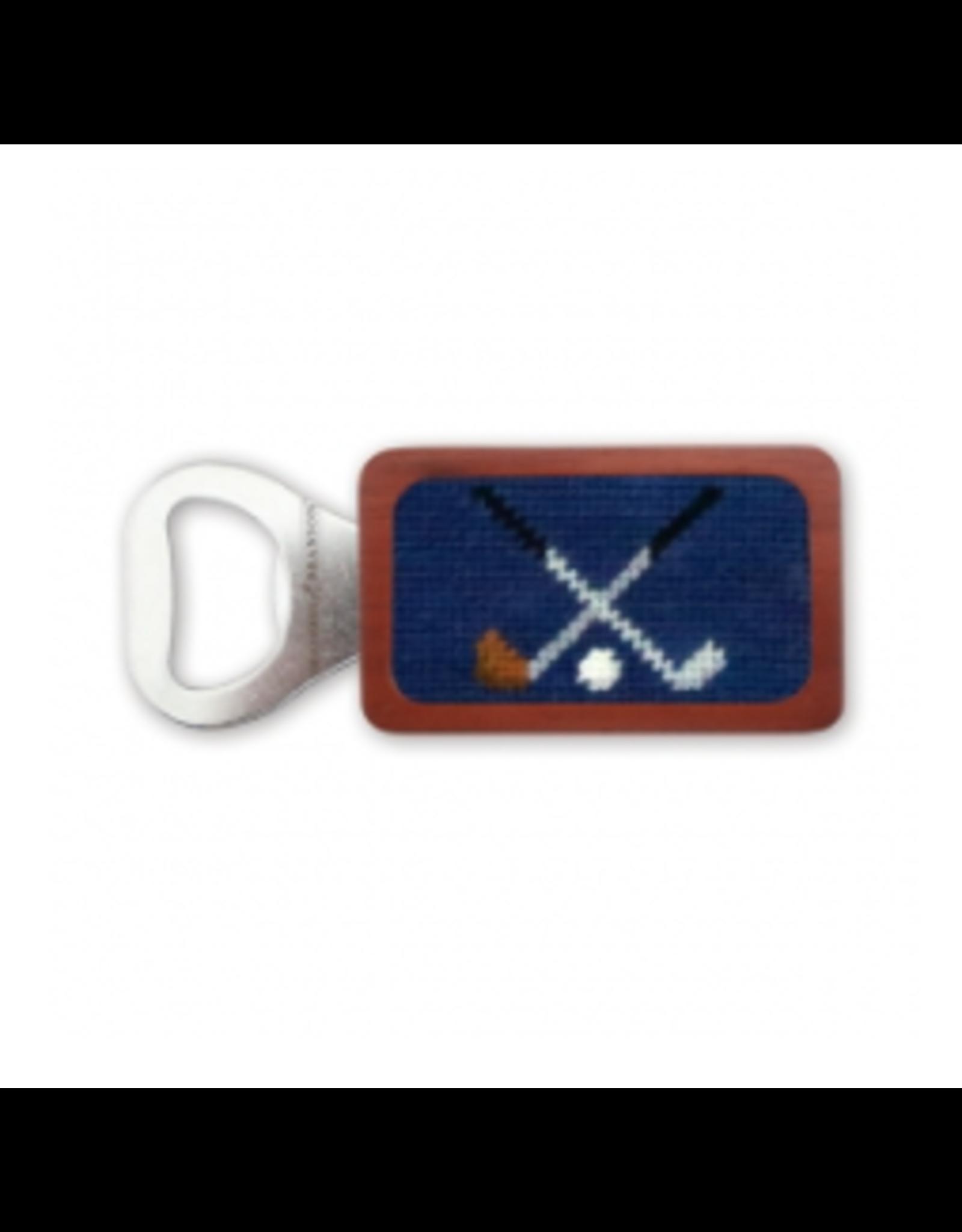 Smathers & Branson S&B Needlepoint Bottle Opener, Cross Clubs (classic navy)