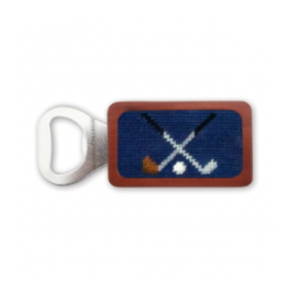 Smathers & Branson S&B Needlepoint Bottle Opener, Cross Clubs (classic navy)