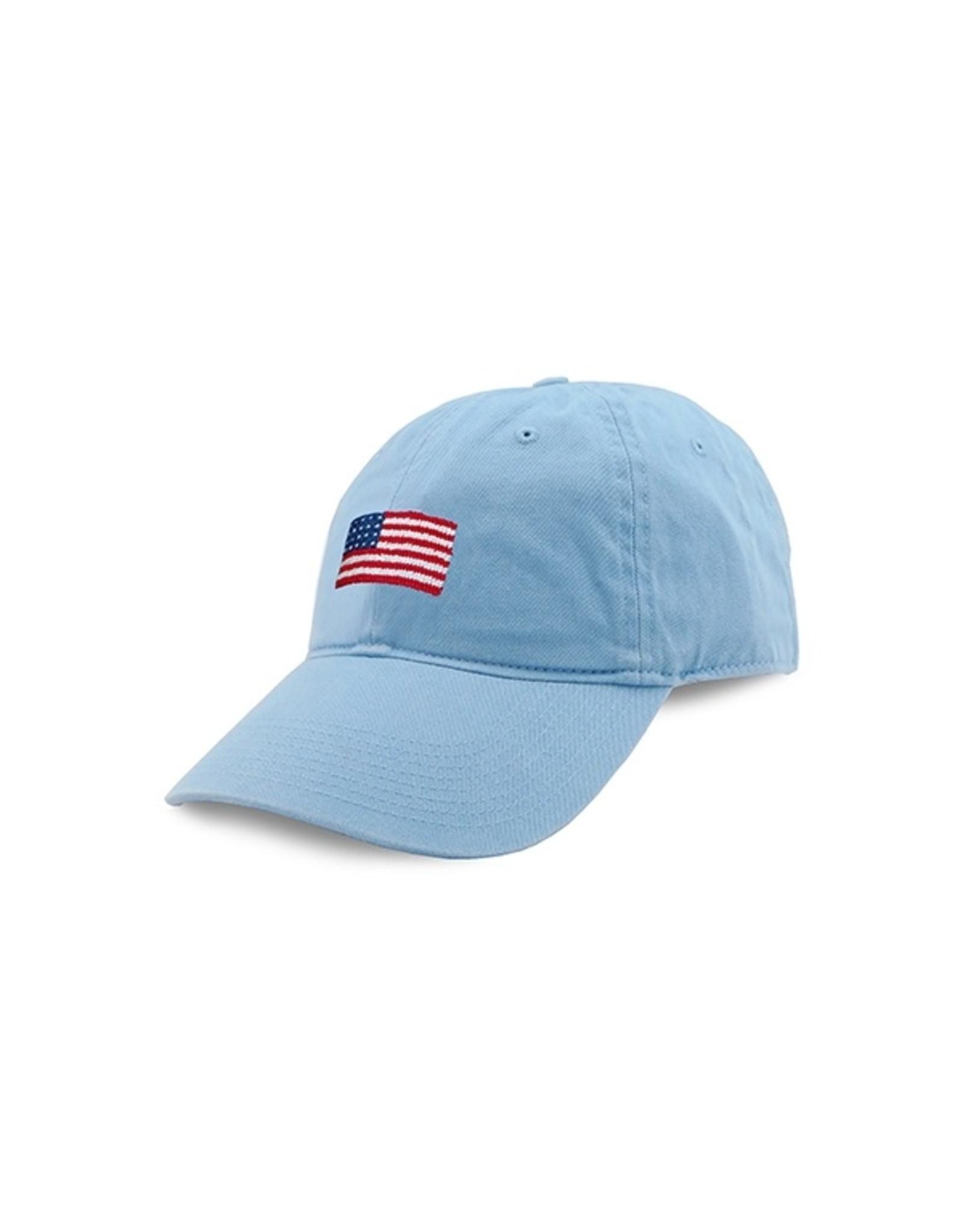 Smathers & Branson S&B Needlepoint Ball Hat, American Flag (Sky Blue)