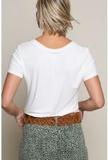 Folded Short Sleeve V-Neck Long Tee