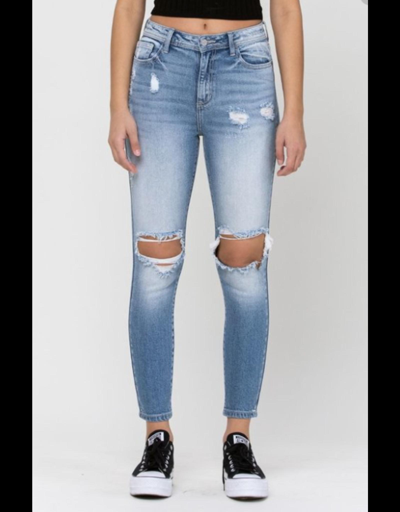 High Rise Destroy Mom Skinny Jeans,