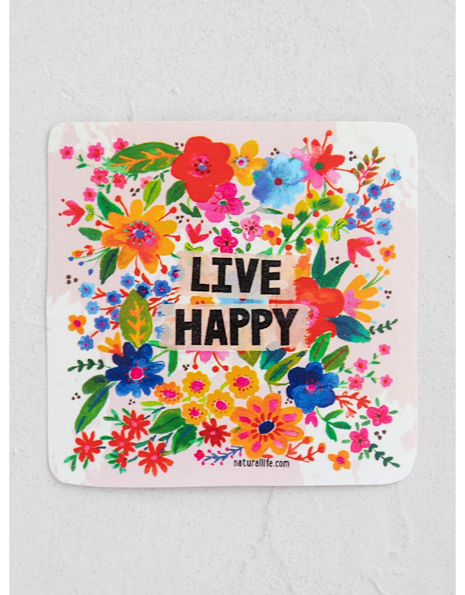 Natural LIfe Vinyl Sticker, Live Happy Floral