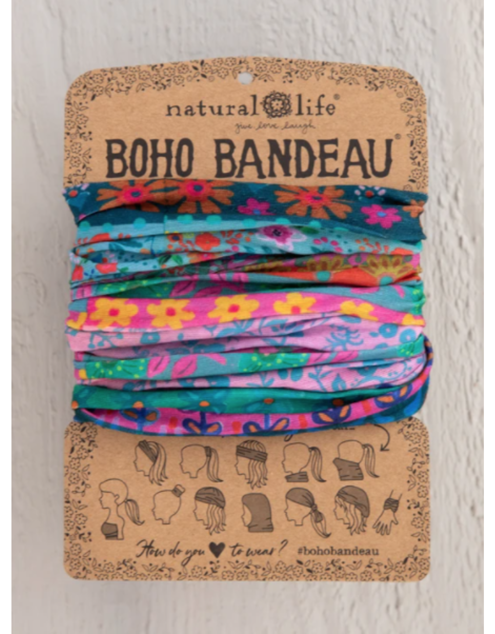 Natural LIfe Boho Bandeau, Blue/Pink Borders