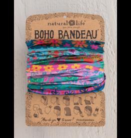 Natural LIfe Boho Bandeau, Blue/Pink Borders