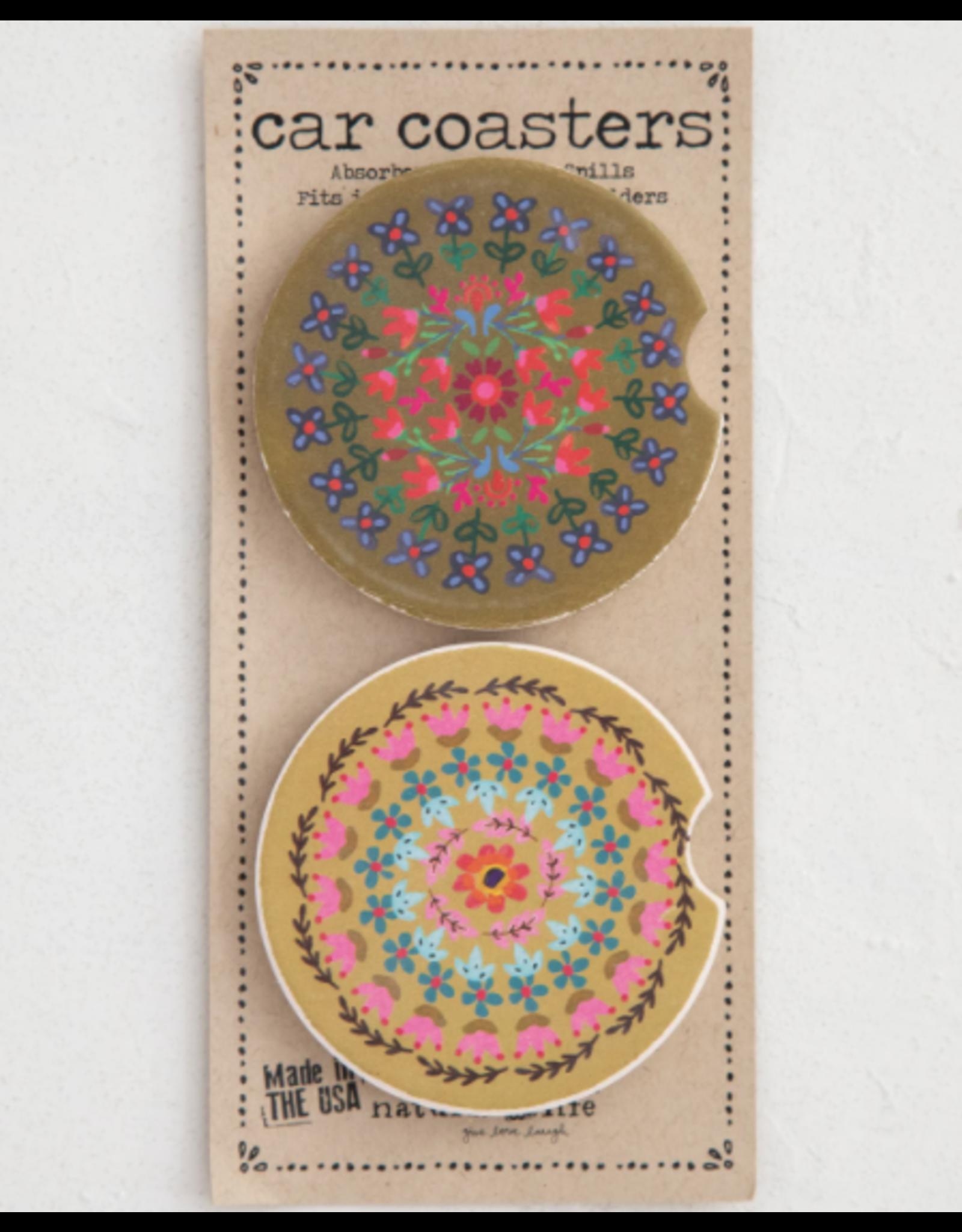 Natural LIfe Car Coasters, Set of 2, Flower Borders