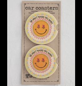 Natural LIfe Car Coaster, Set of 2, Smile Happy