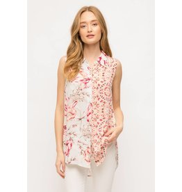 Sleeveless Print Mix Shirt
