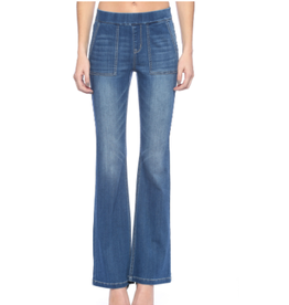 Mid Rise Flare Pull On Jeans w/Surplus Pockets