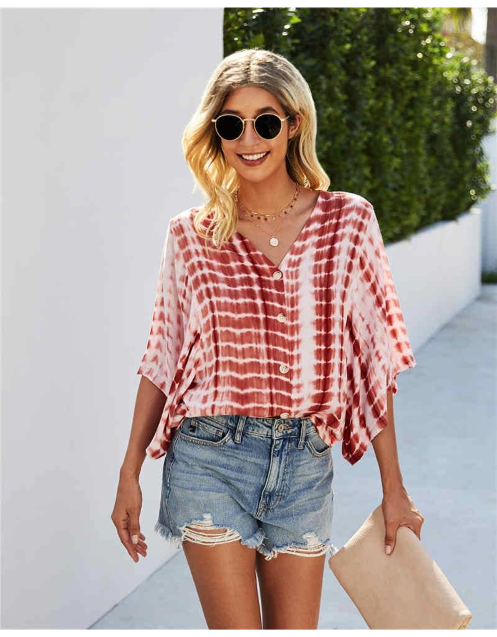 ePretty Tie Dye Button Top with Oversized Sleeves
