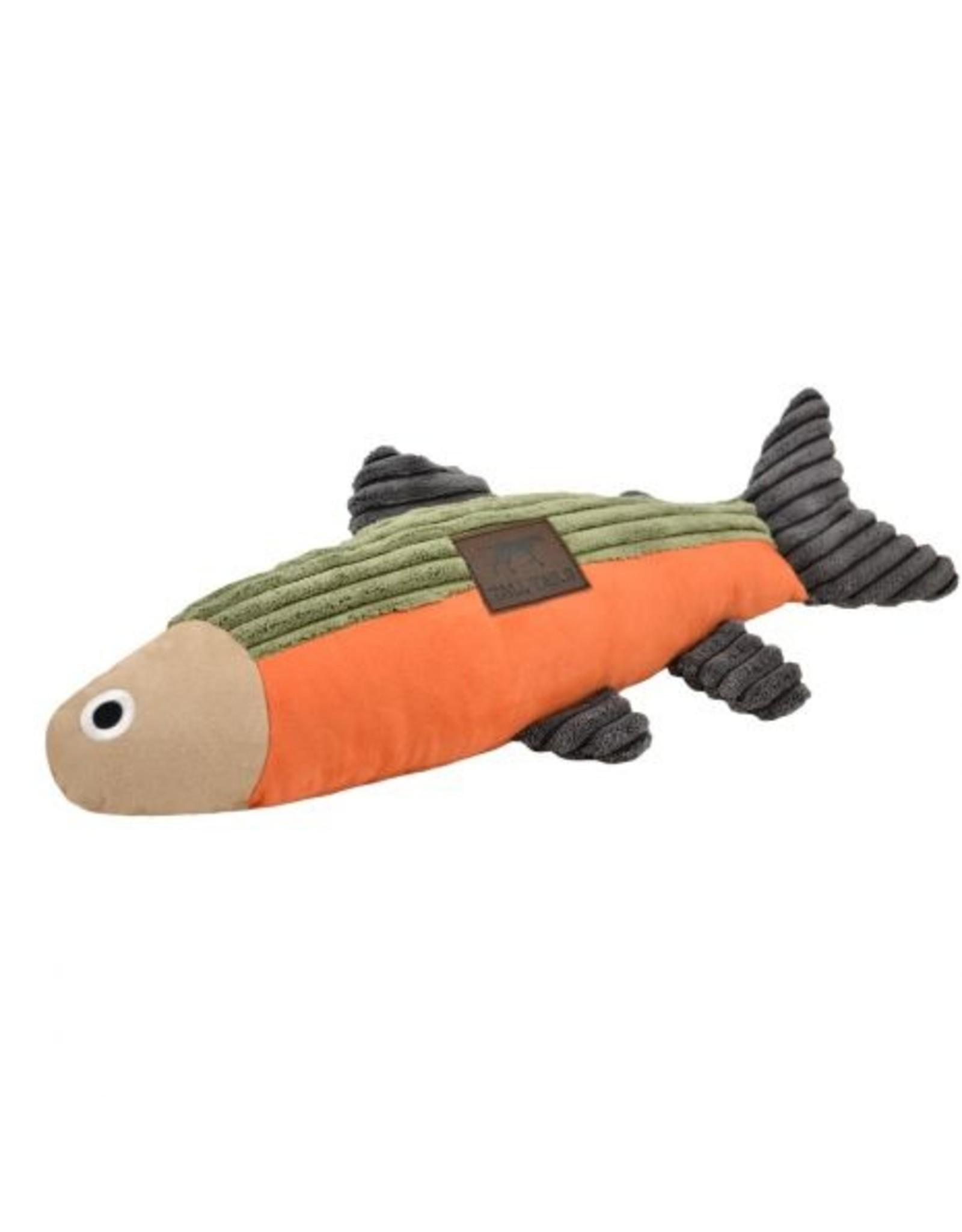 "12"" Fish with Squeaker, sage/orange"