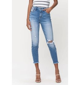 High Rise Frayed Hem Distressed Crop Skinny Jeans