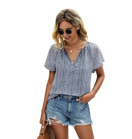 ePretty Ruffled Sleeve Loose Fit Tie Front Top