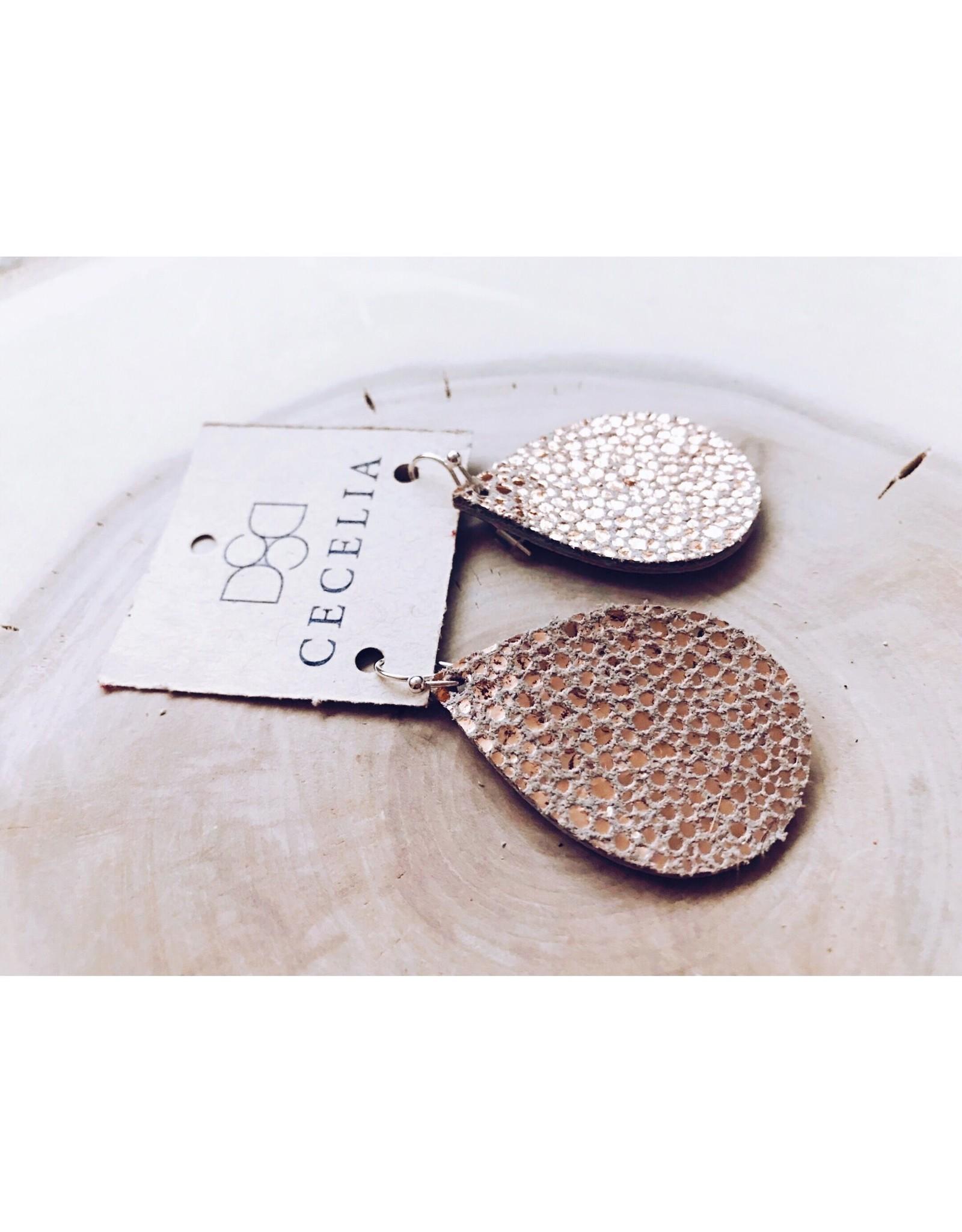 Cecelia Small Teardrop Leather Earrings, Rose Gold Bubble