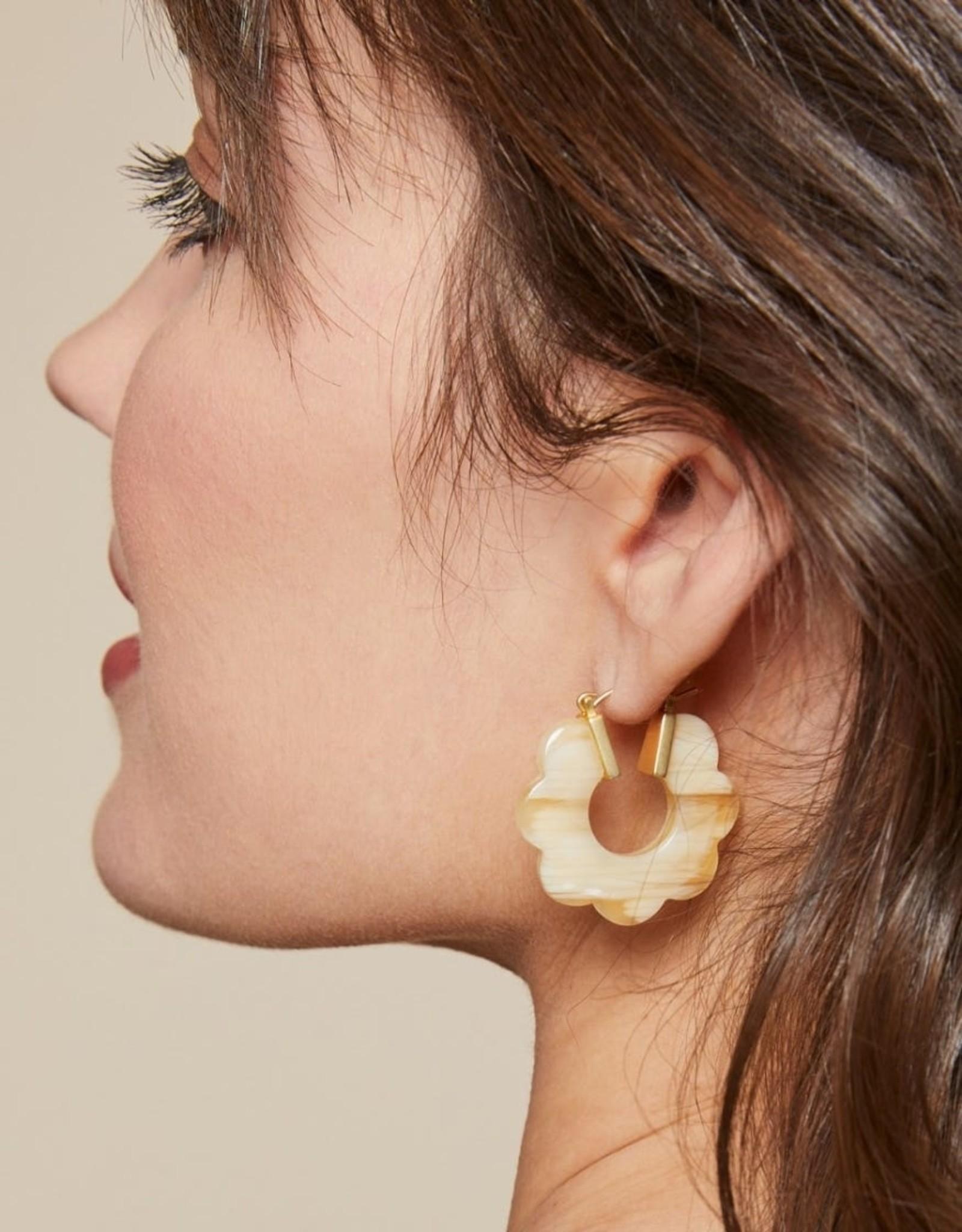 Cream Mod Daisy Hoop Earrings