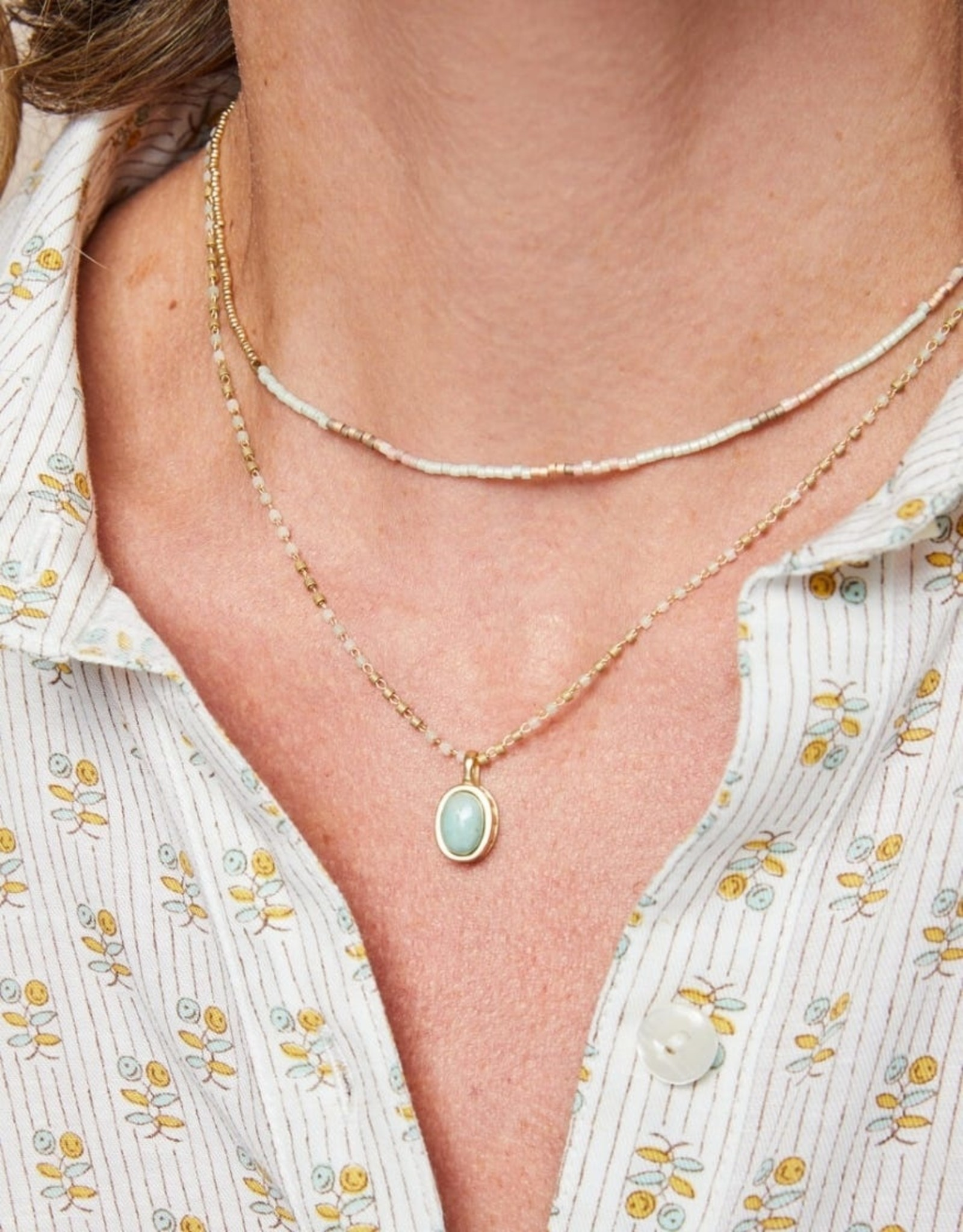"Bitty Bead Necklace, 15"", salt marsh"