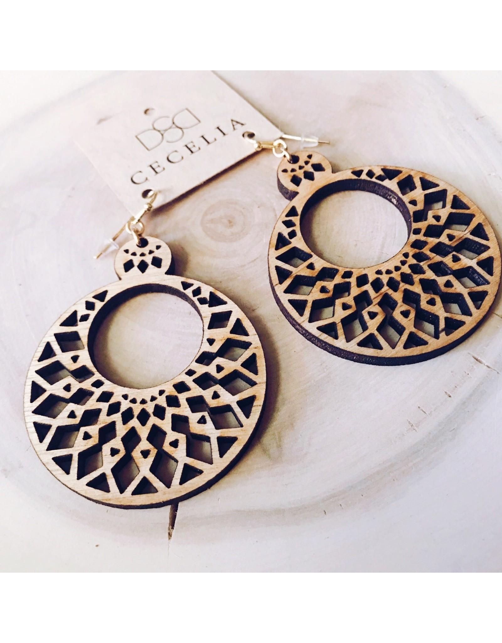 Cecelia Mandala Tiered Wooden Earrings