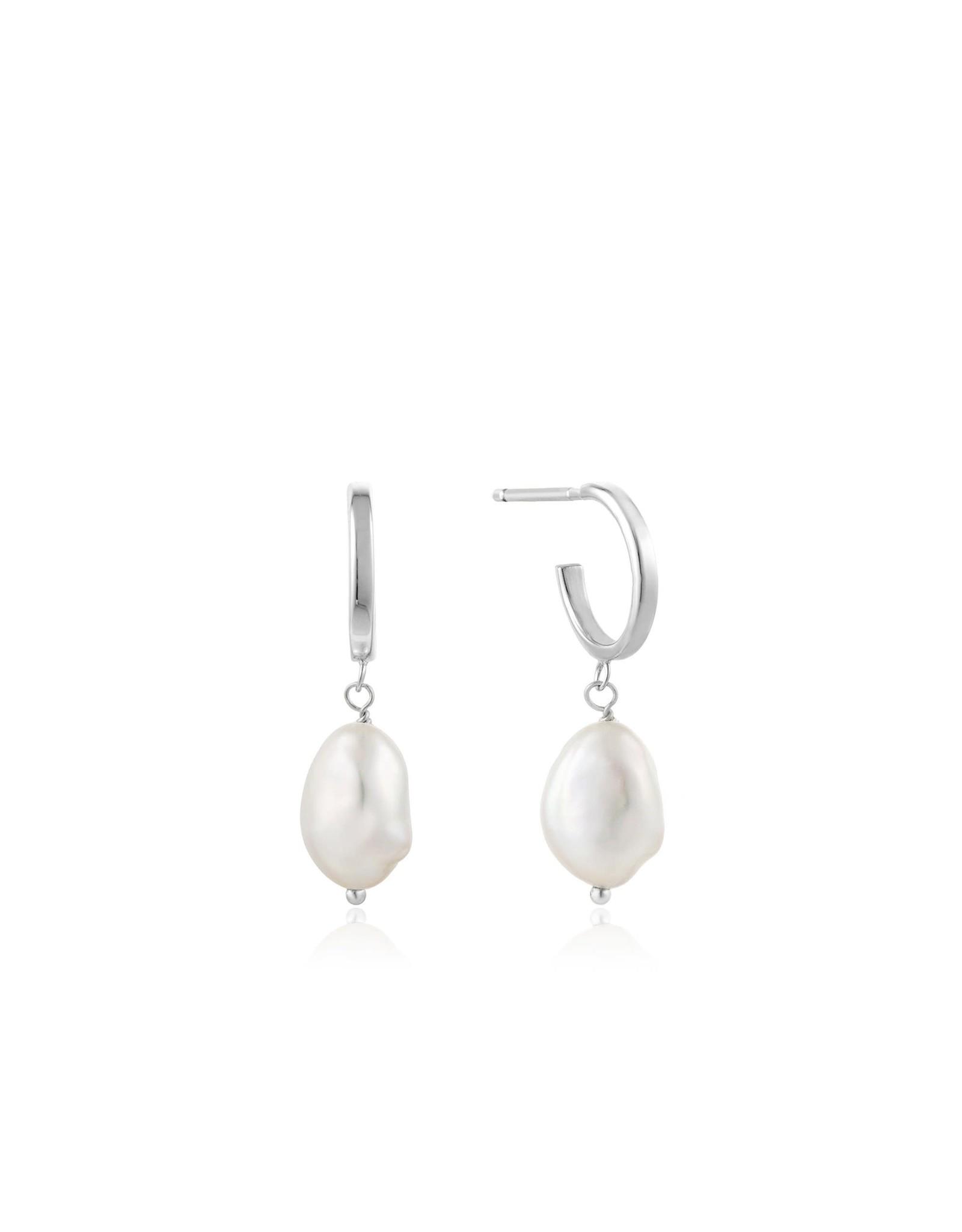 Ania Haie Pearl Mini Hoop Earrings, Silver