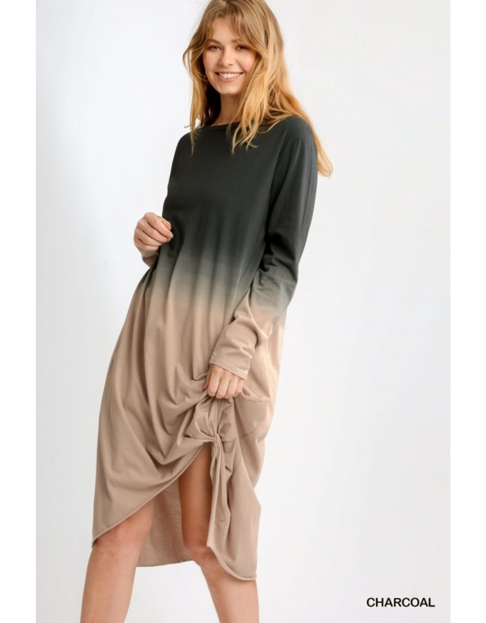 Ombre Front-Knot Long Sleeve Midi Dress