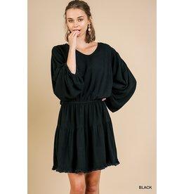 Cinched Waist Ruffle Hem Dress