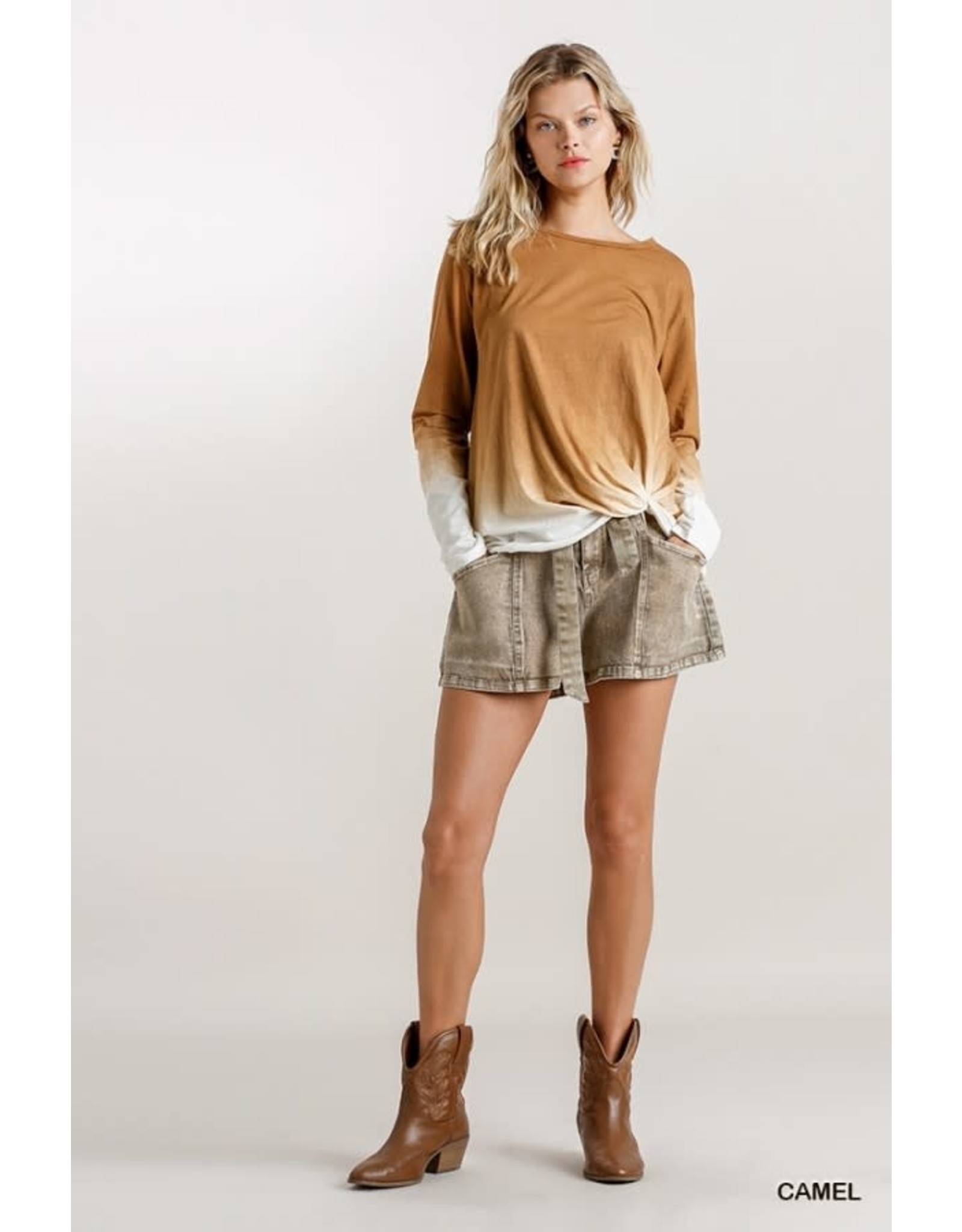 Ombre Long Sleeve Top w/Gathered Detail