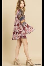 Multi Print Trumpet Sleeve Dress