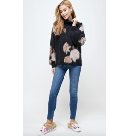 See and Be Seen Turtleneck Sweater with Rose Design